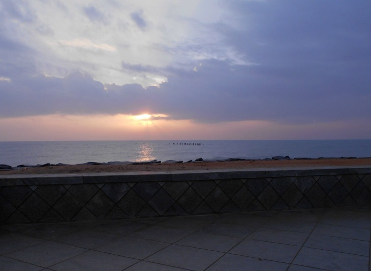 Sunrise at the Pondicherry beach