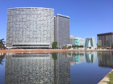 Corporate buildings line the lake