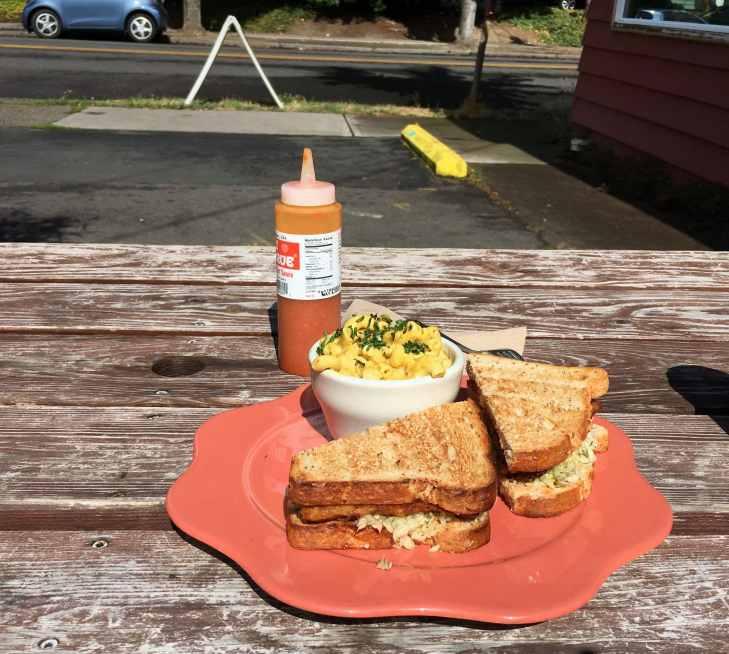 Tempeh sandwich and vegan pasta, Portland