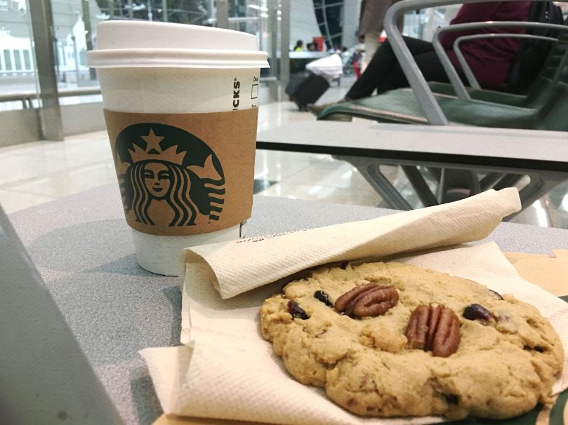 Starbucks cookie and coffee