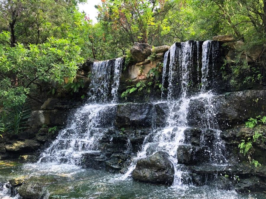 Waterfall in Zilker Botanical Garden, Austin, Texas