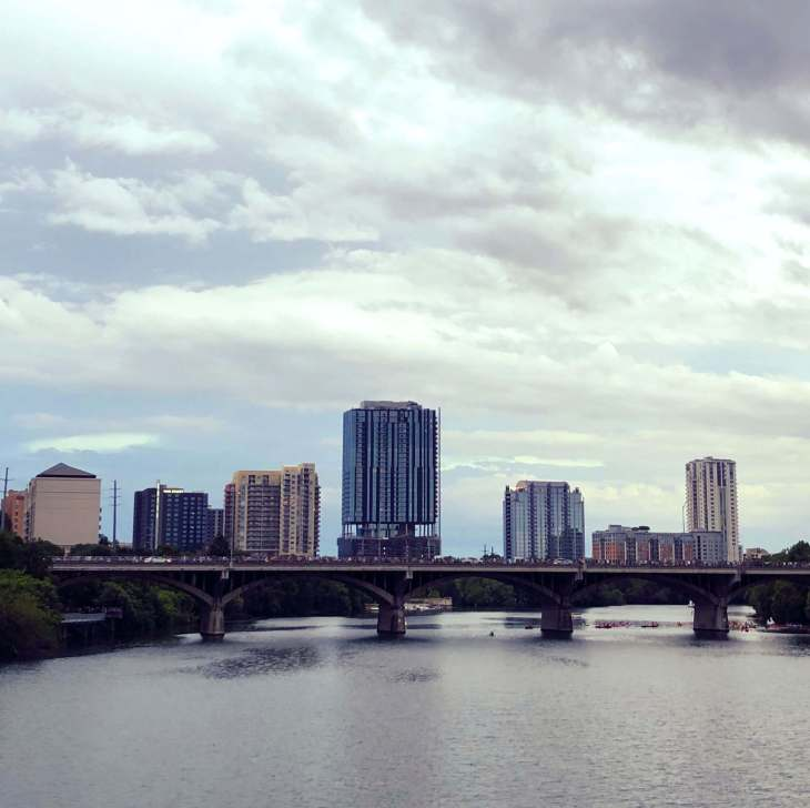 Buildings as seen from across the Colarado RIver in Austin, Texas