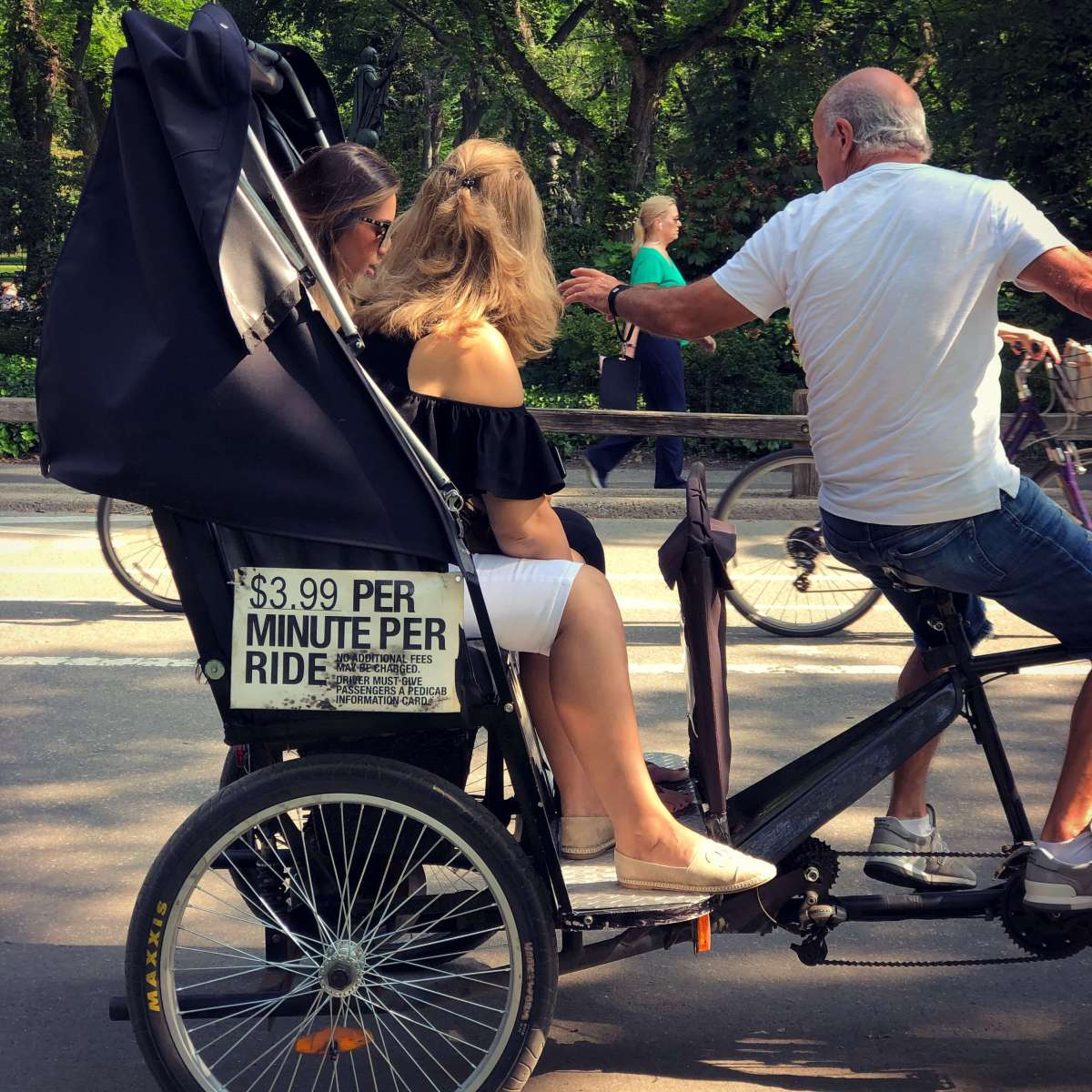 A local pedicab guide in Central Park, Manhattan, New York City