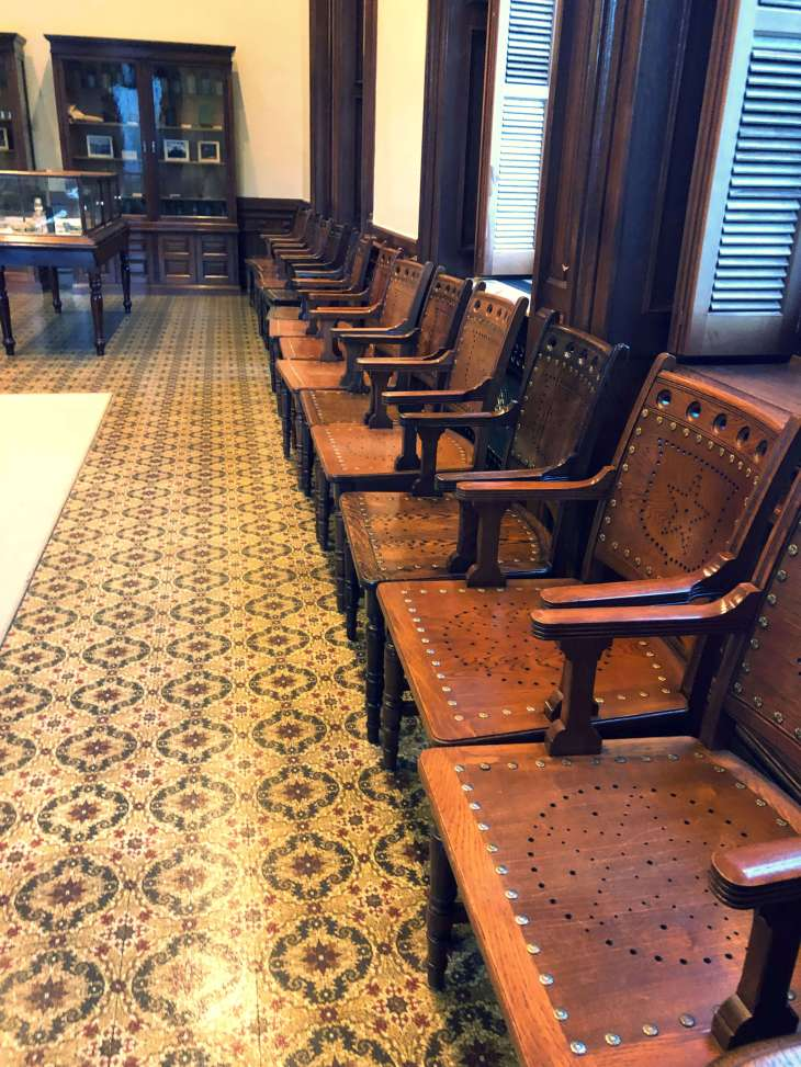 Chairs lined up, Texas State Capitol, Austin