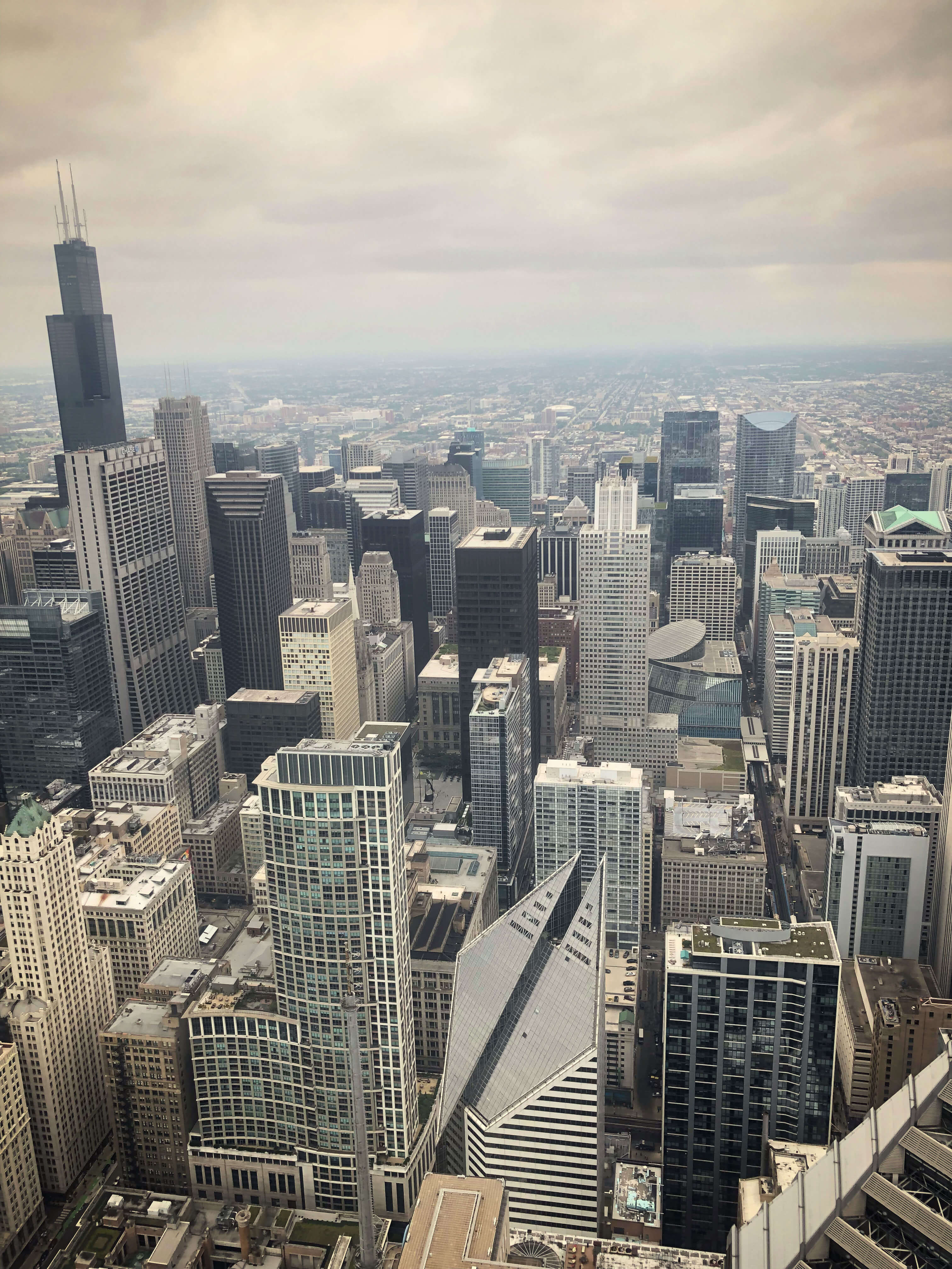 Downtown Chicago as seen from the 86th floor of a building.