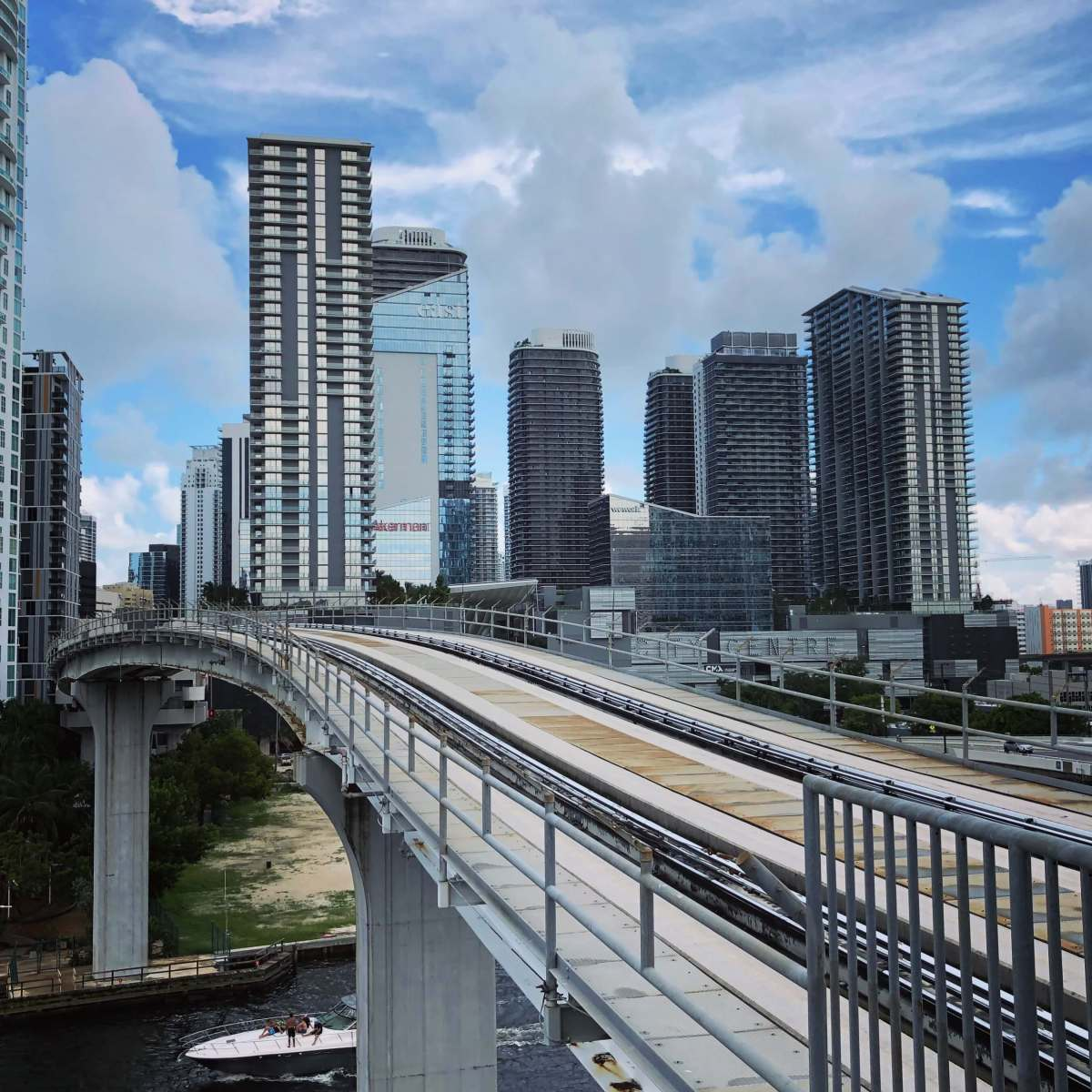 Metromover railway track in downtown Miami