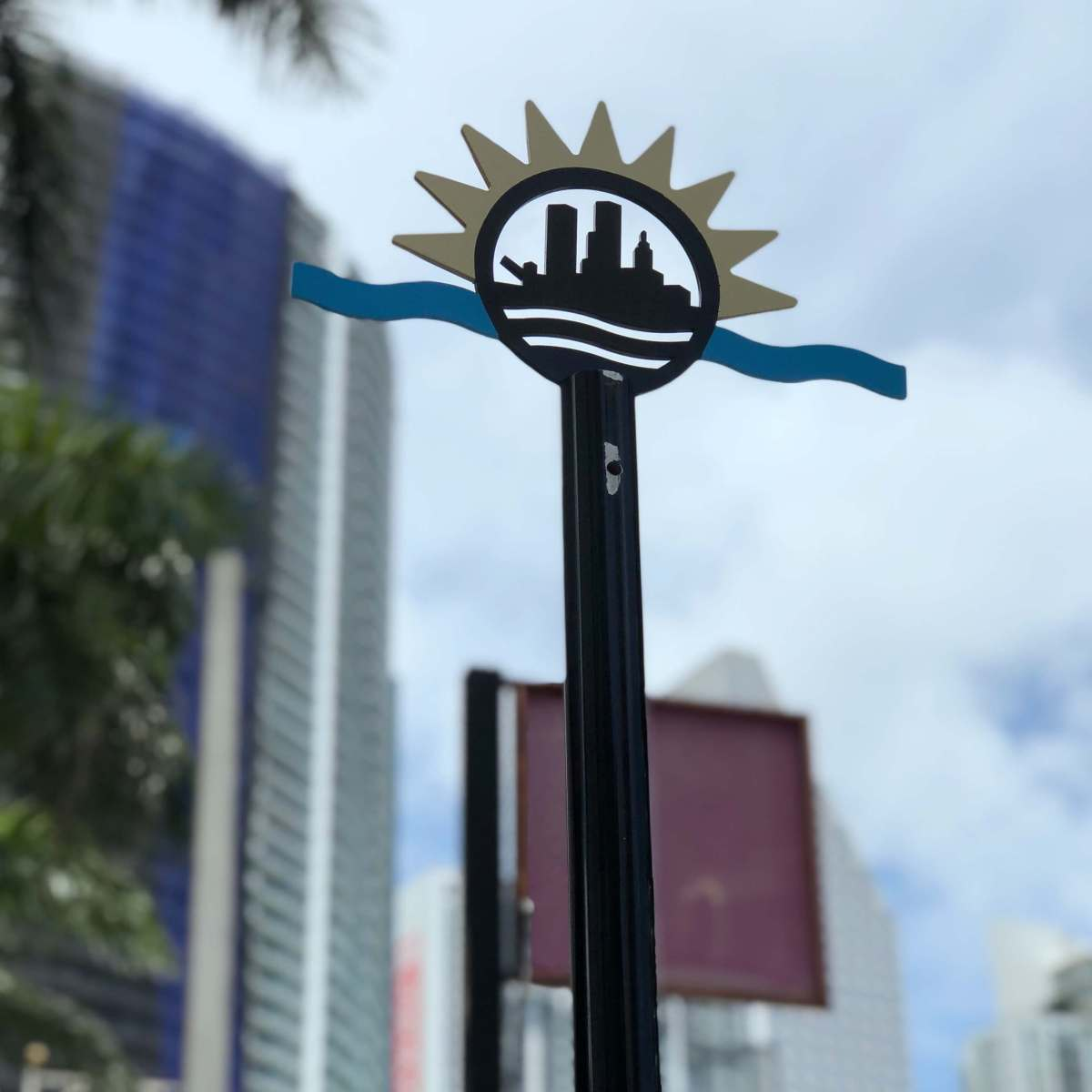 Sign indicating the riverwalk in downtown Miami