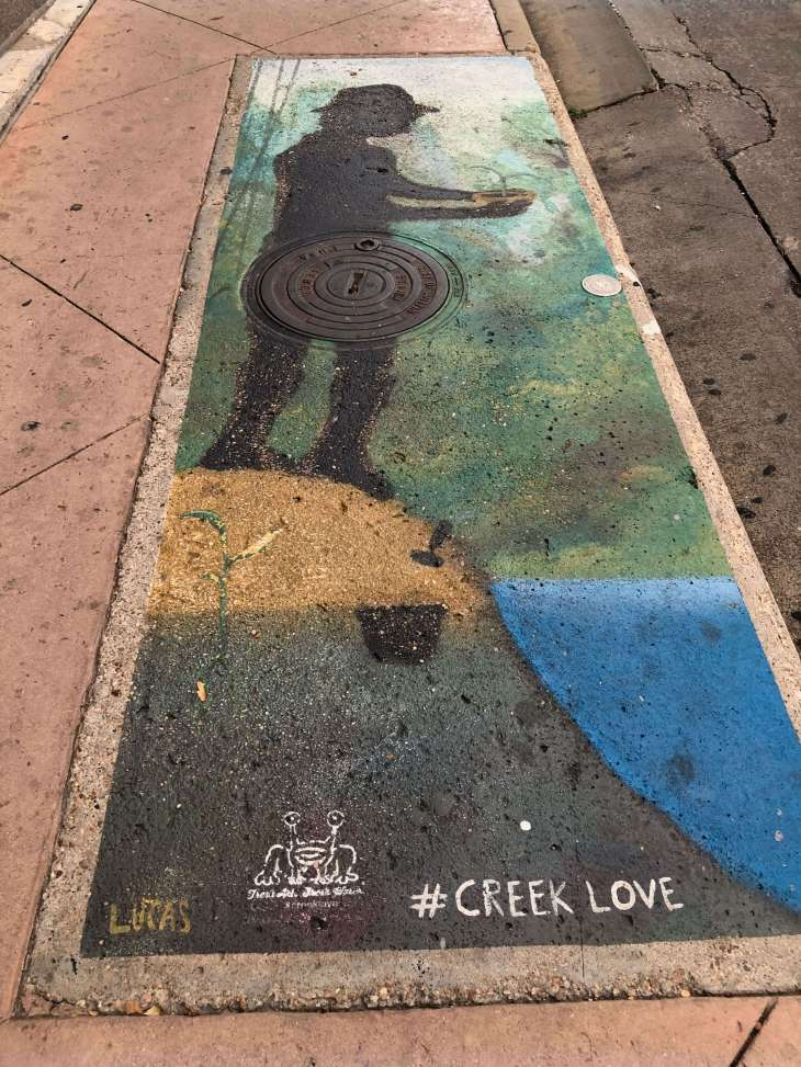 Creek Love street art in Austin Texas