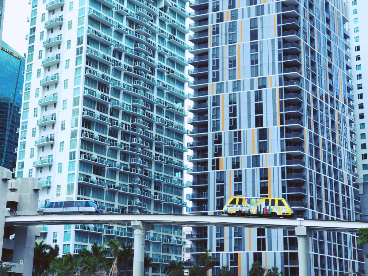 Metromovers in downtown Miami