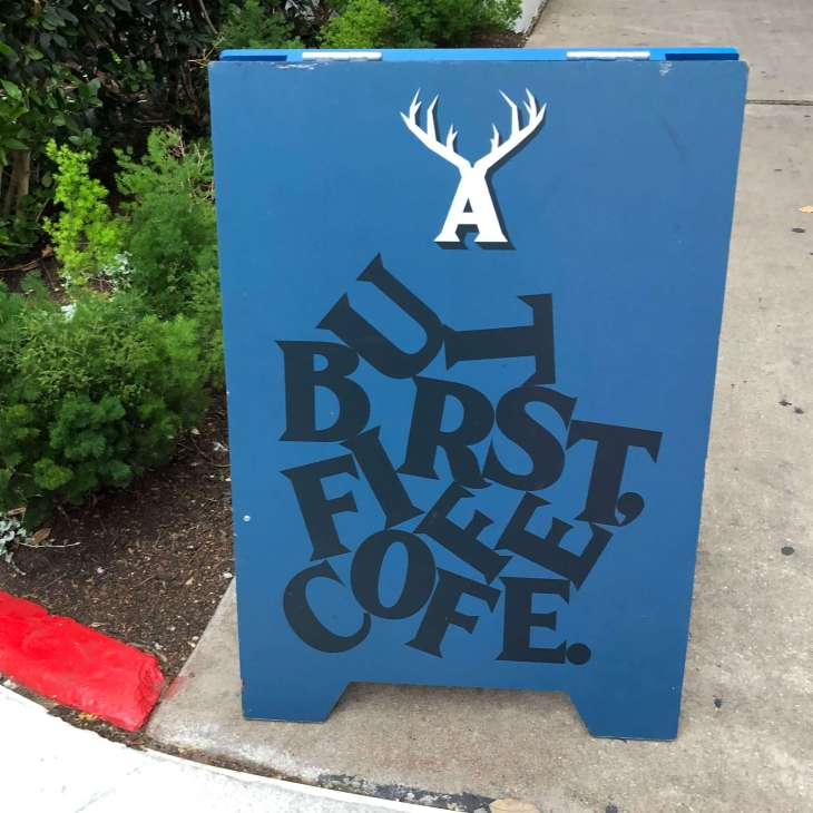 Signboard for a coffee shop in Austin, Texas