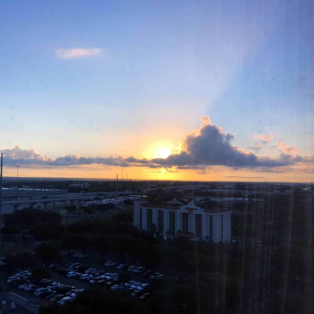 Sunrise from Hotel Omni Southpark in Austin, Texas