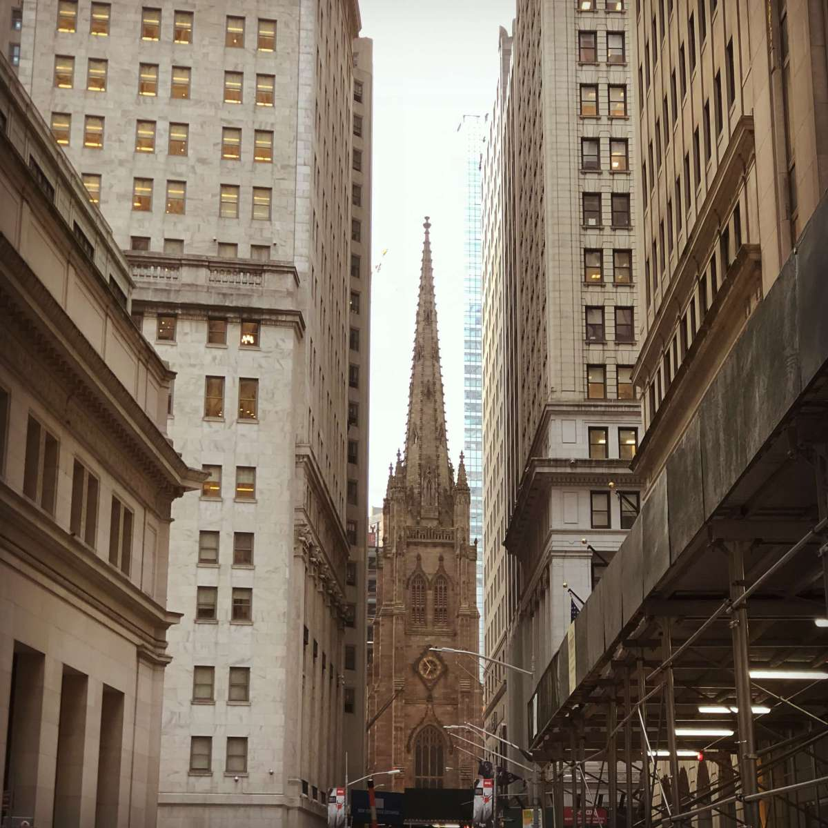 Trinity Church as seen from near the Stock Exchange in Wall StreetTrinity Church as seen from near the Stock Exchange in Wall Street