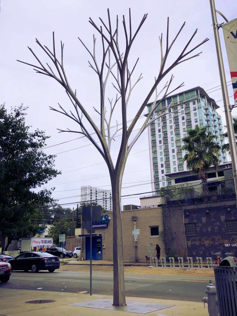 Artificial tree in the streets of Austin, Texas