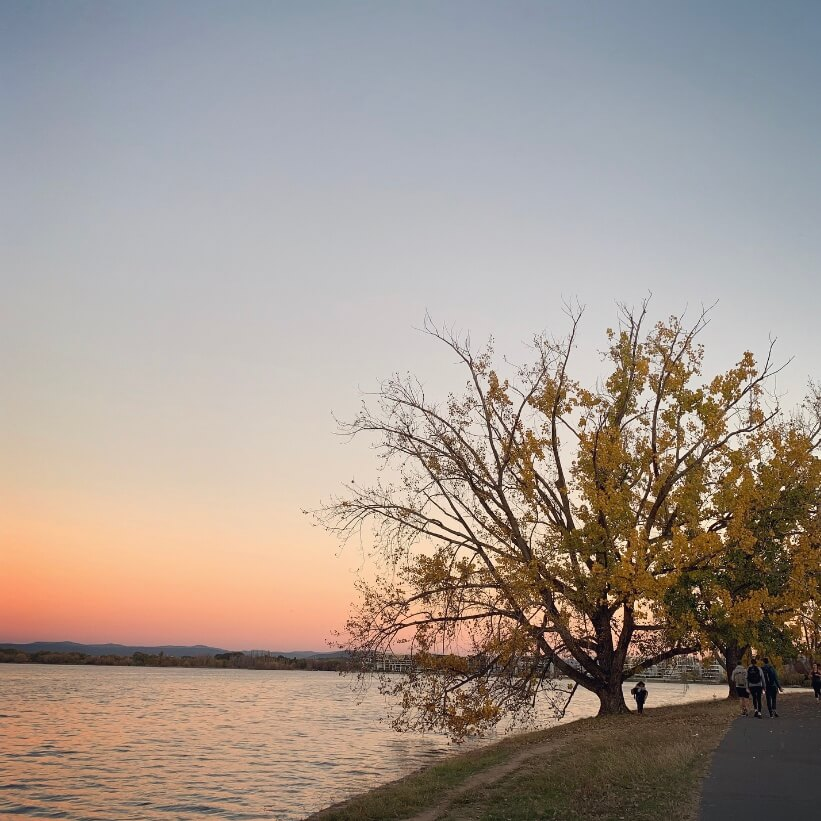 Autumn sunset by lake Burley Griffin