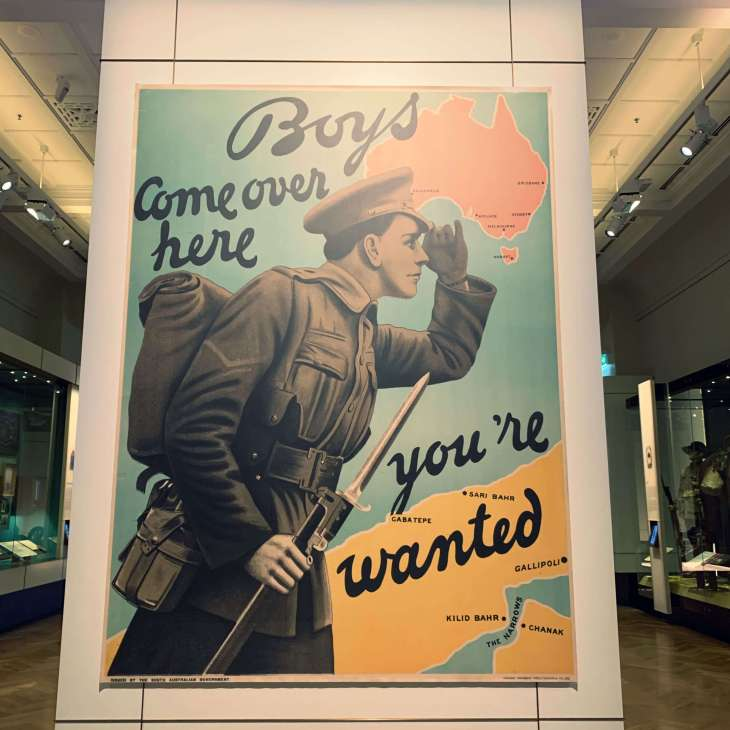 Recruitment poster used during the Australian wars - on display at the Australian War Memorial, Canberra