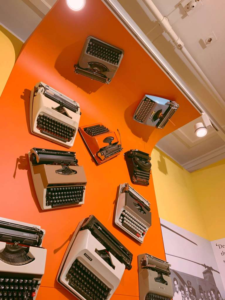 Typewriters on display at the old parliamentary house in Canberra, Australia