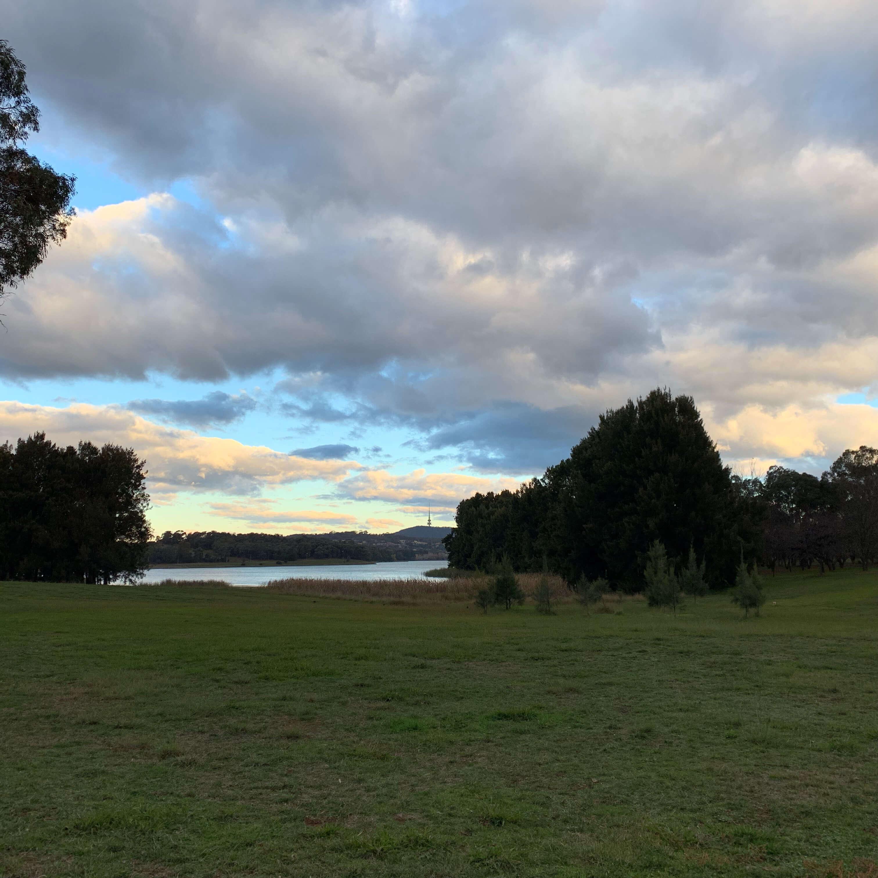 Walking along Lake Ginninderra in Canberra, Australia
