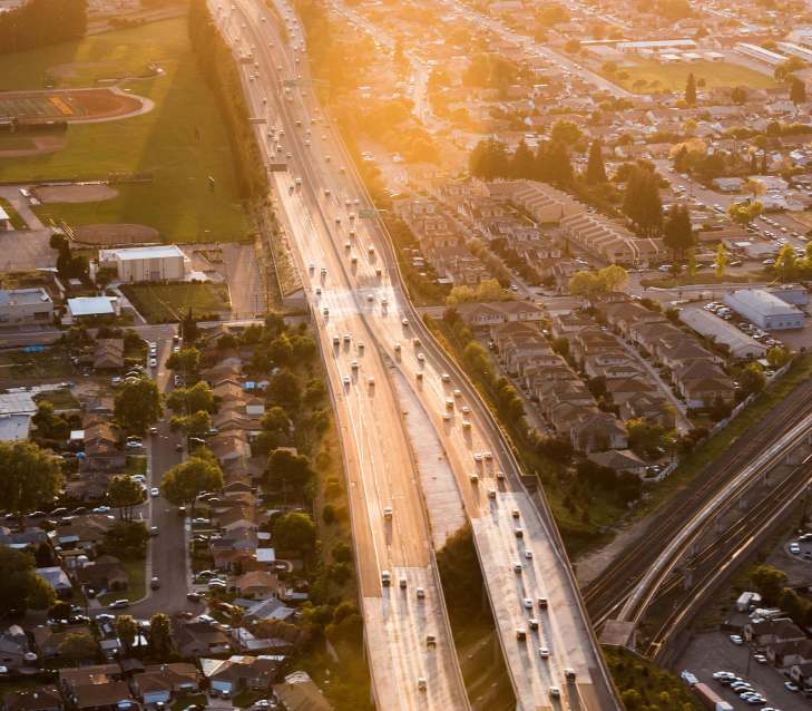 city traffic in the sunlight