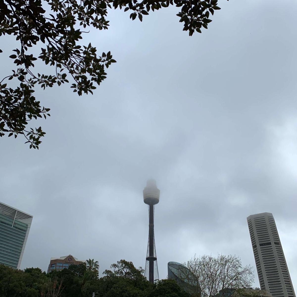 Westfield tower in mist, Sydney, Australia
