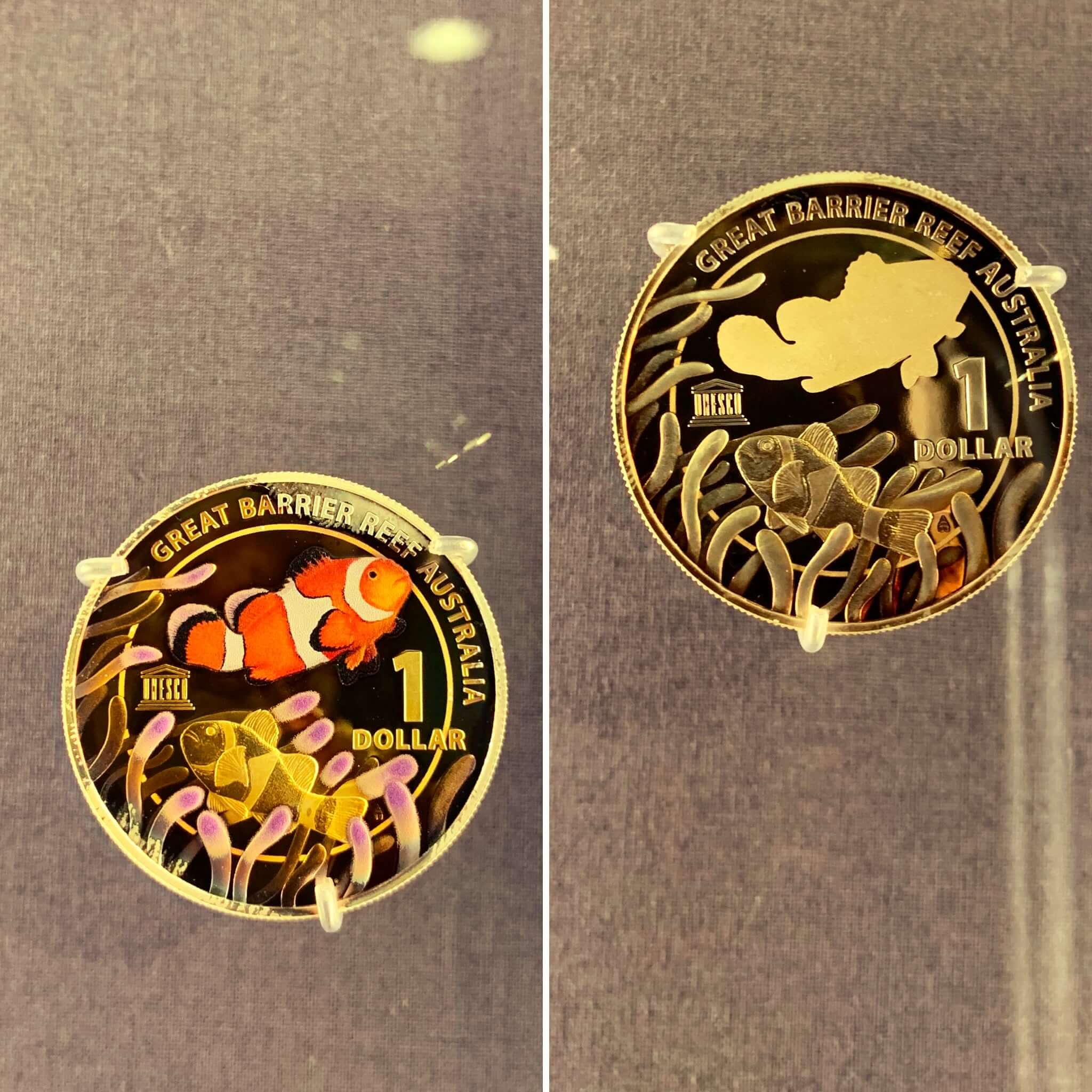 Commemorative coins for the Great Barrier Reef - On display at the Royal Australian Mint, Canberra