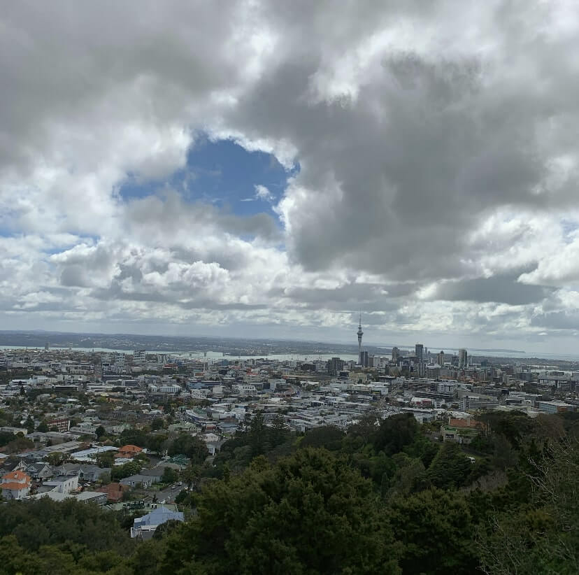 From Mount Eden volcano, Auckland, New Zealand