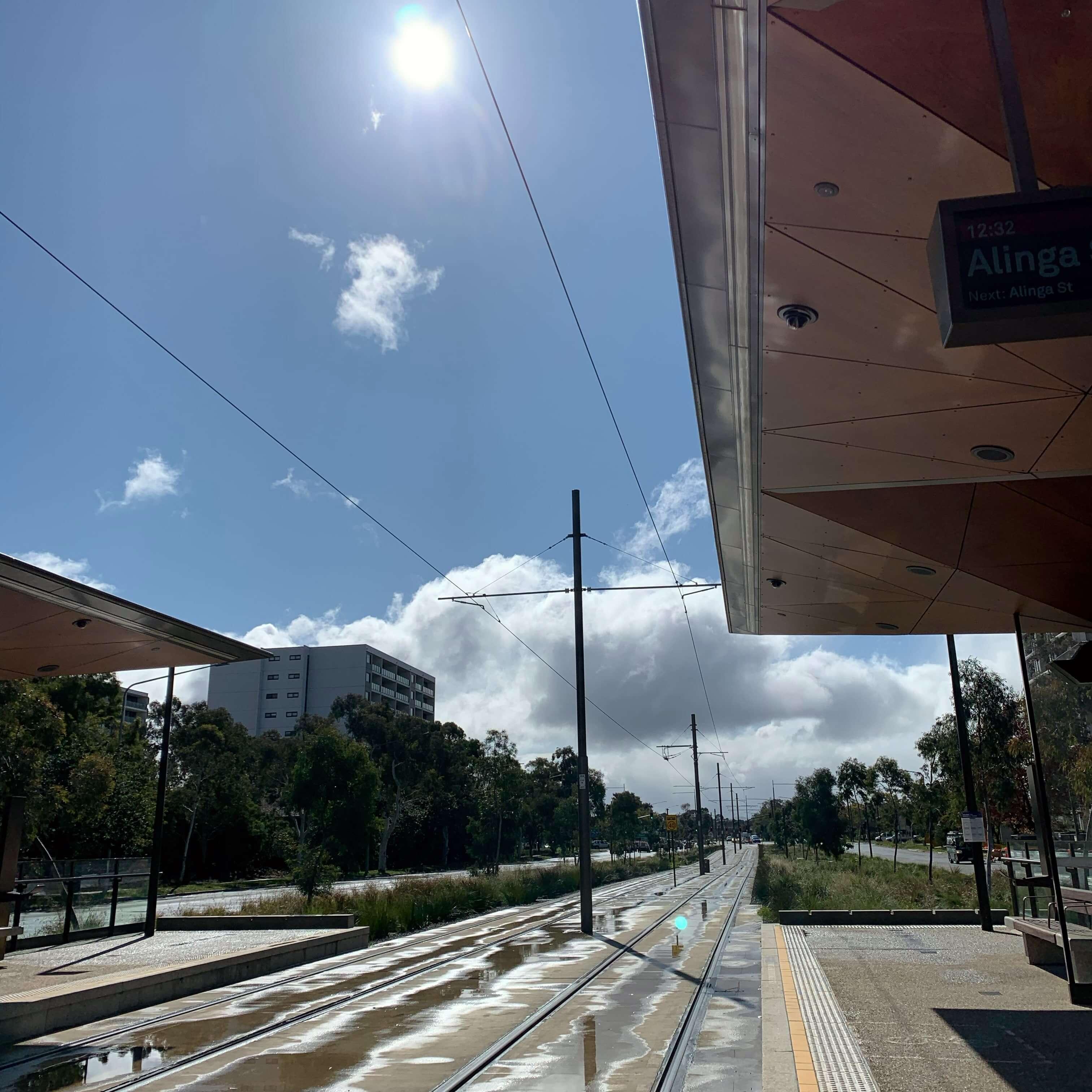 Empty light rail station, Canberra