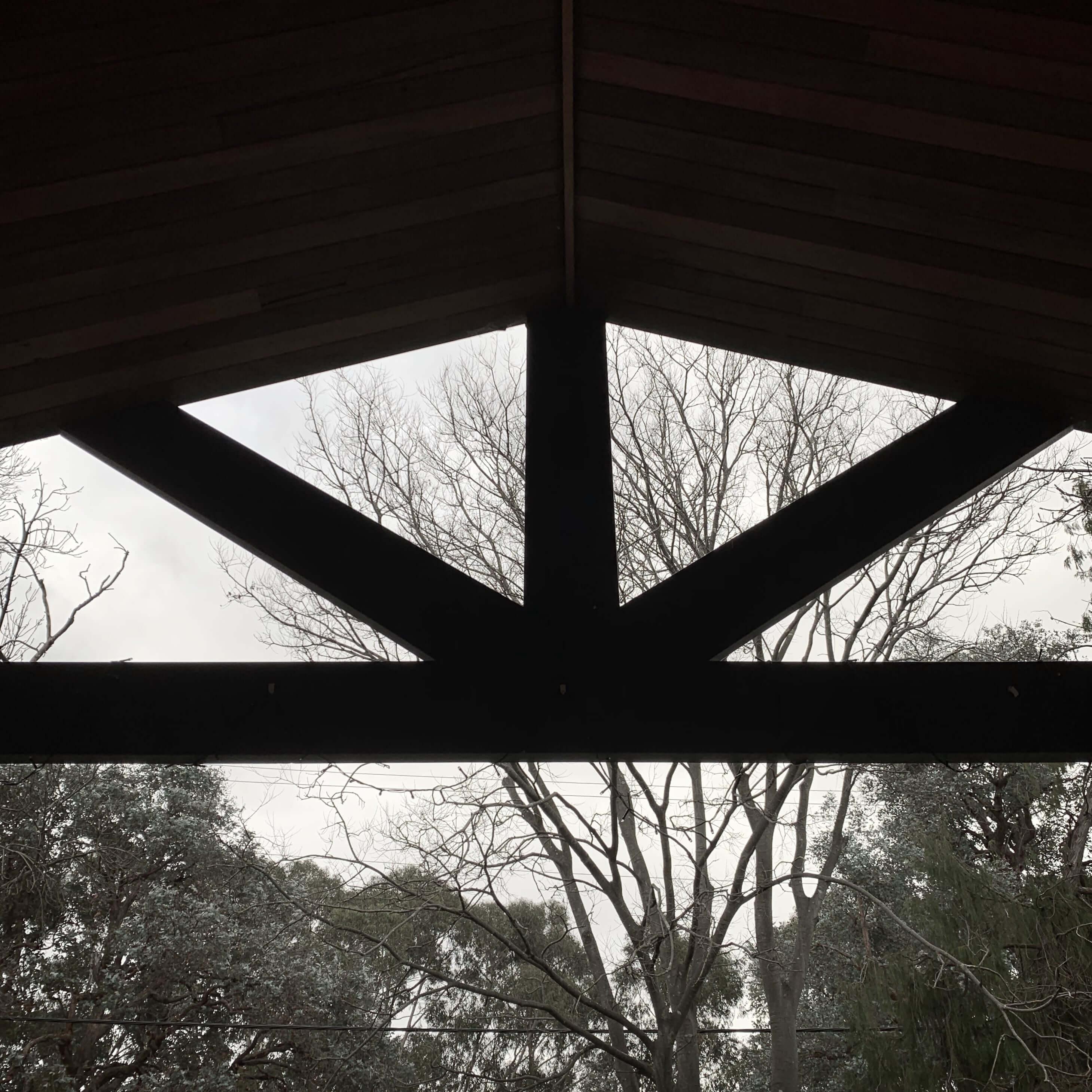 Patio roof facing a garden