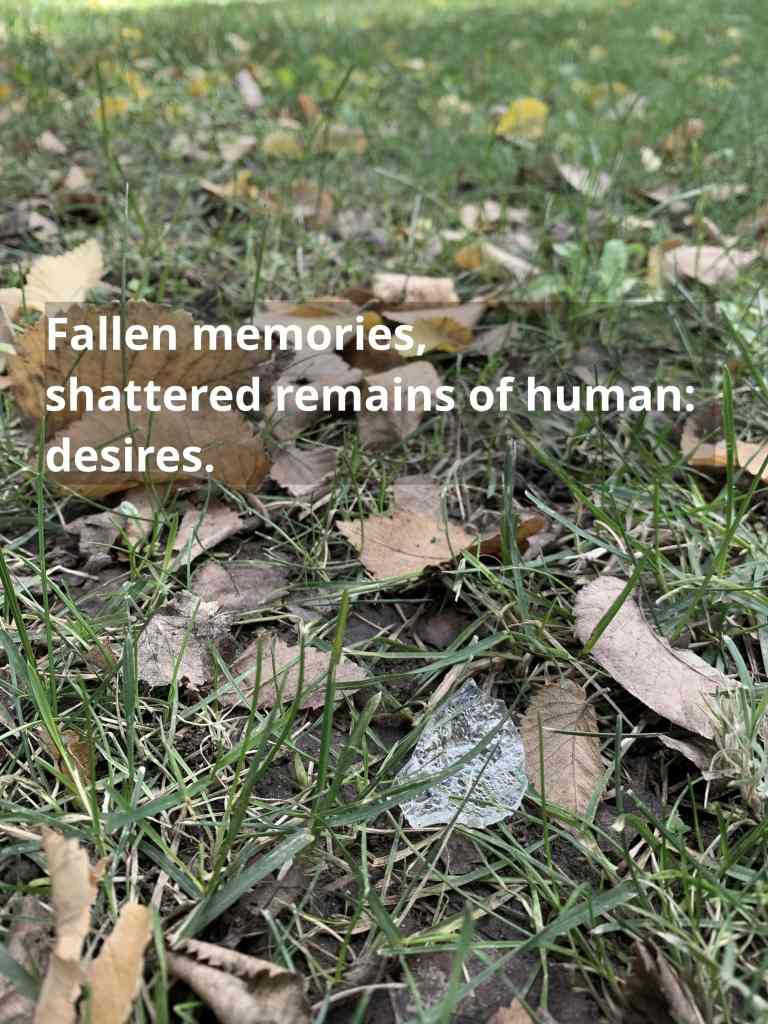 image of a broken piece of glass on the ground with autum leaves around it - with text that reads Fallen memories scattered remains of human desires