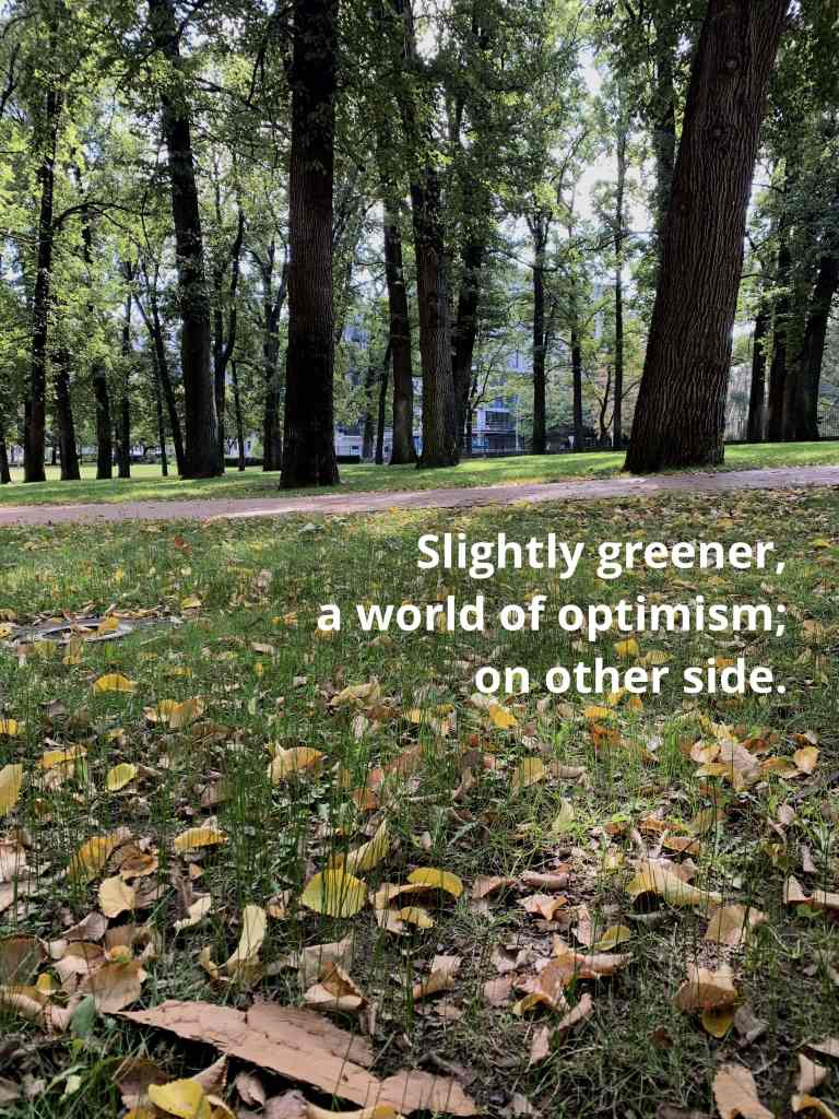 Image of fallen autumn leaves on a green lawn with a path going through it and more green lawn on the other side. Text on the image reads: Slightly greener, a world of optimism; on other side.