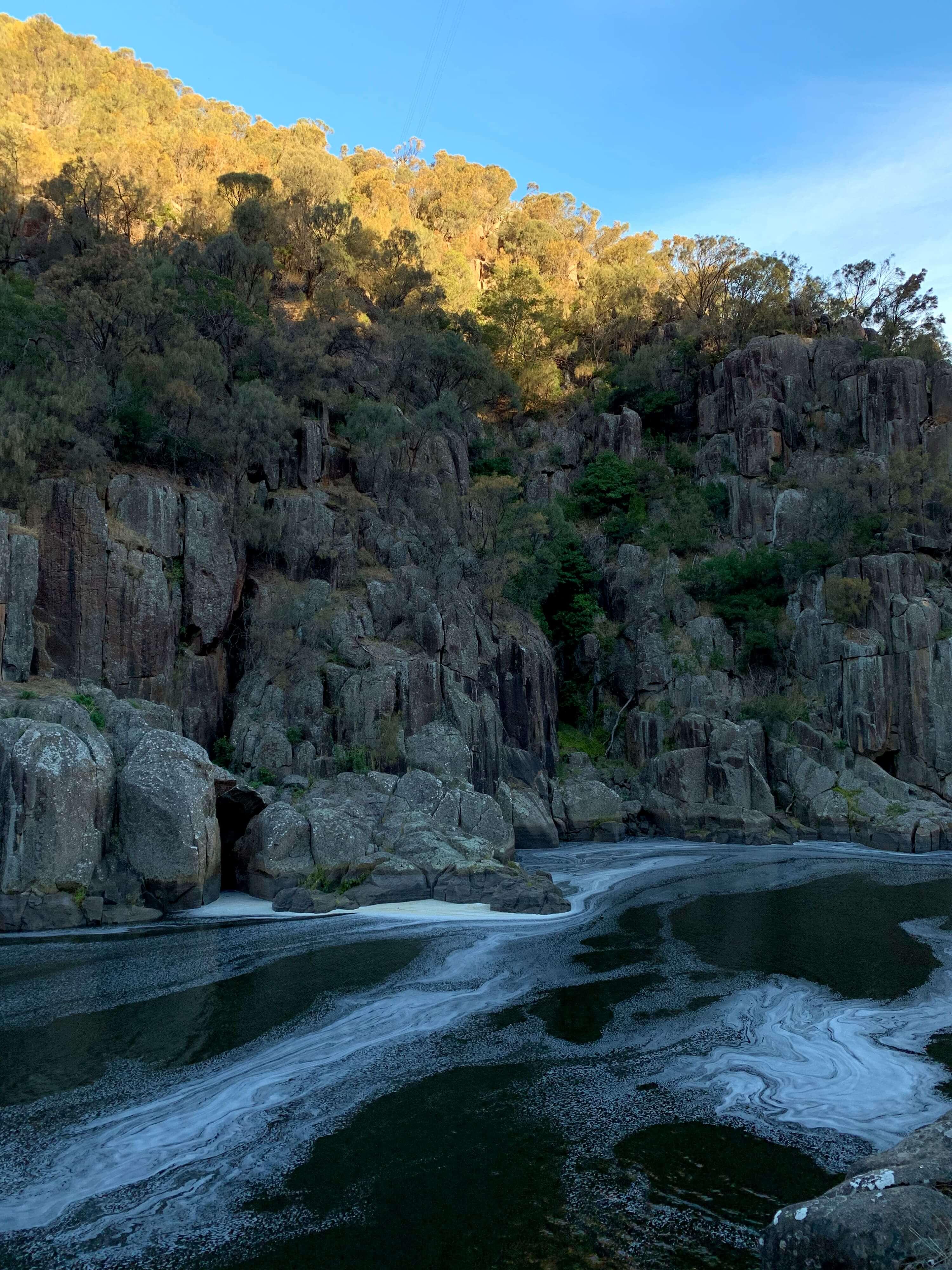 Tamar river foaming on the edges - The Cataract Gorge in Launceston, TasmaniaTamar River