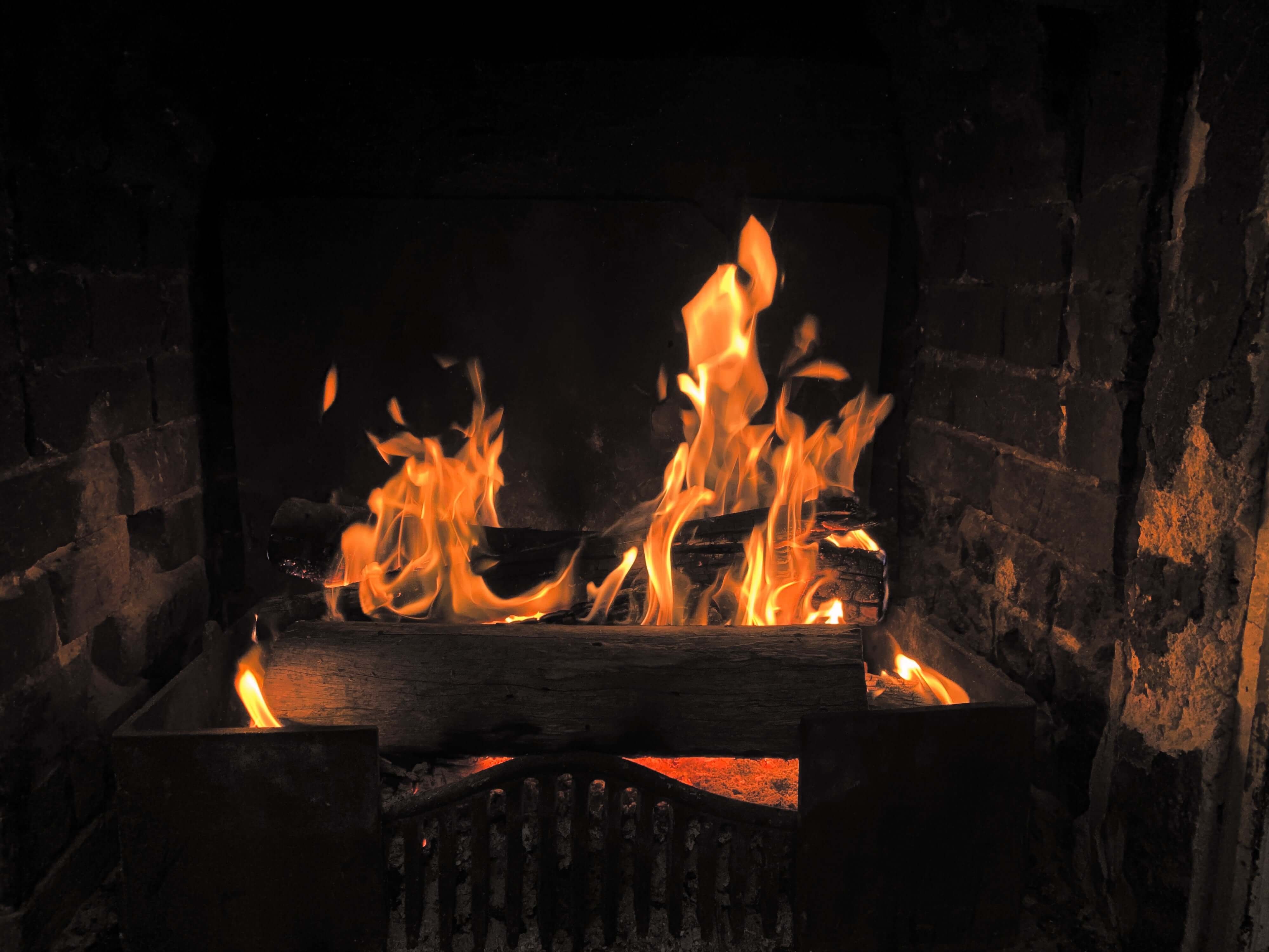 logs burning in the fireplace