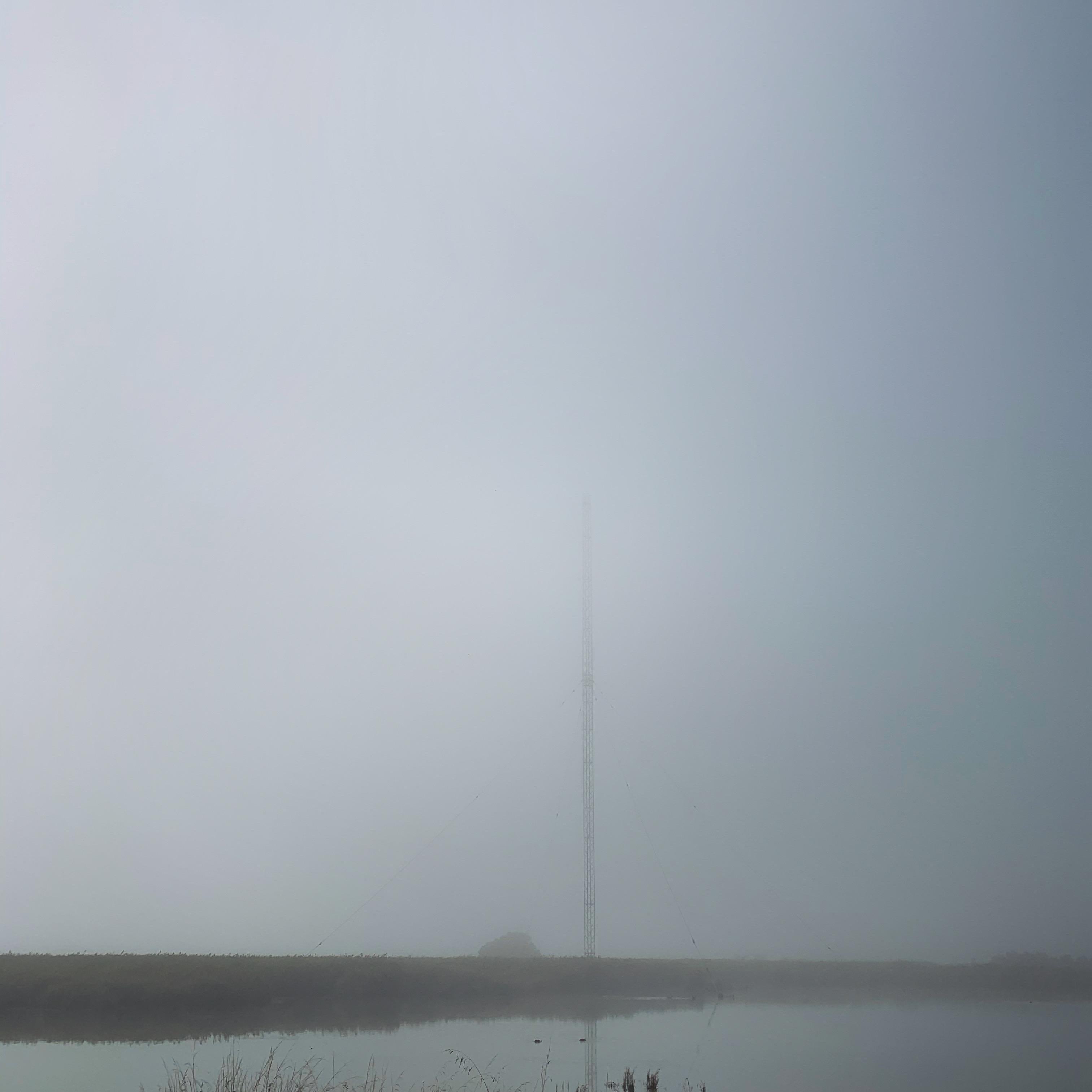 a tower mostly hidden by morning fog, Launceston Tasmania