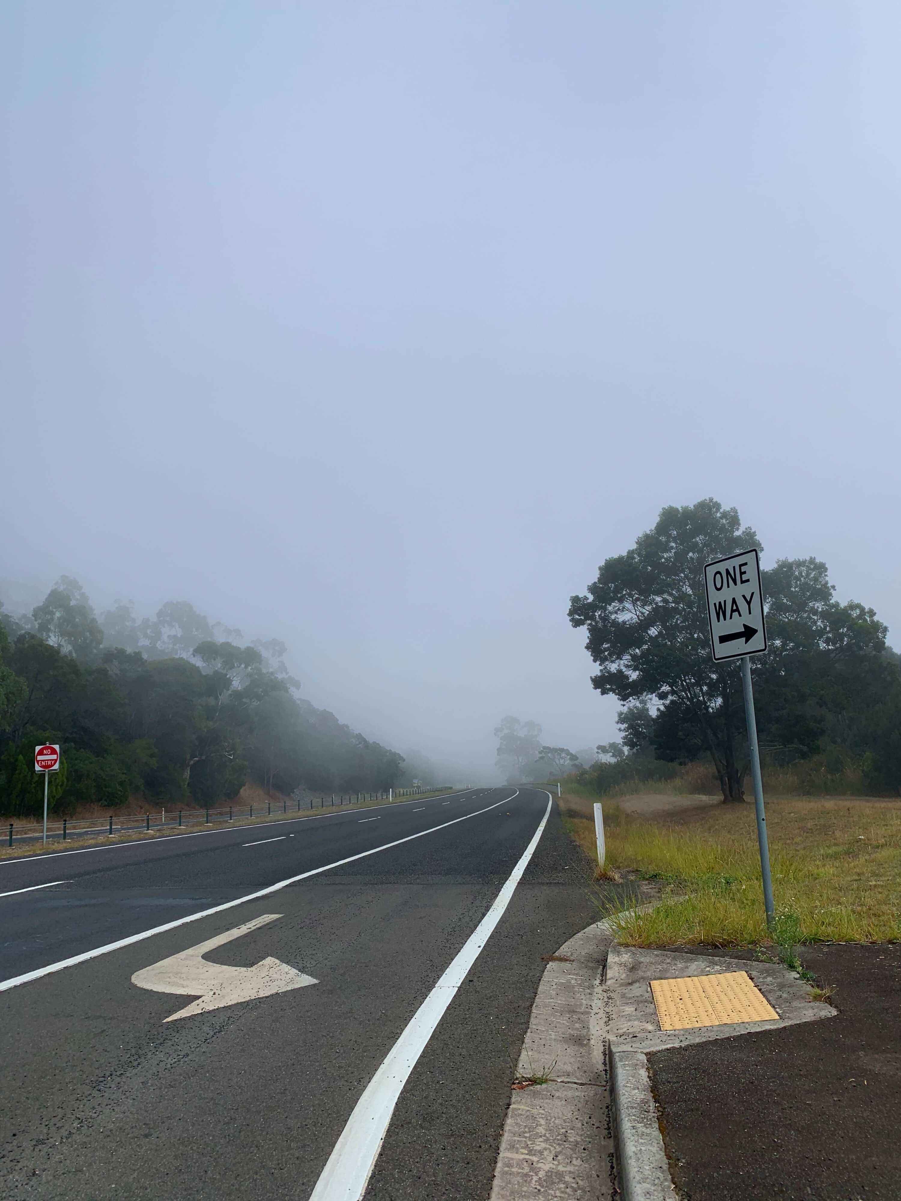 a street with a one way sign pointing to the left side of the photo with a dense fog in the distance