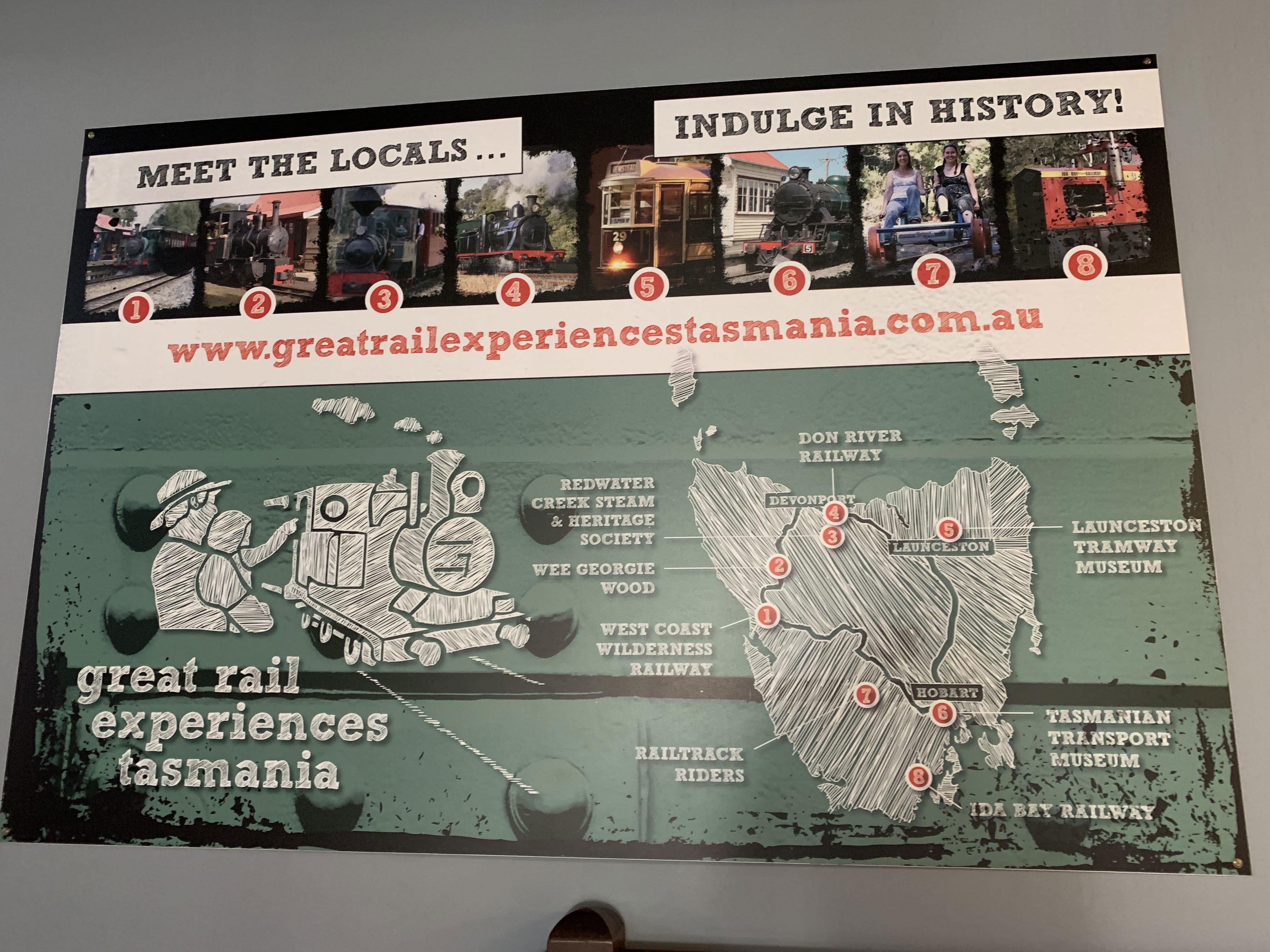 Map of railway museums in Tasmania, QVM, Launceston