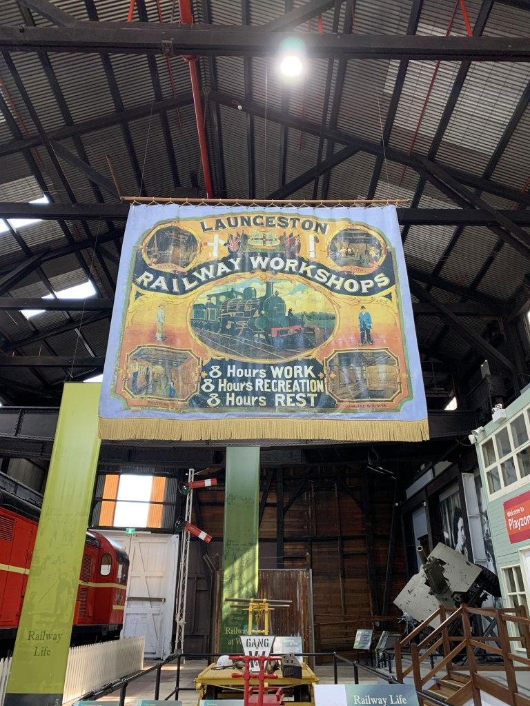 poster at the railway workshop, QVM, Launceston