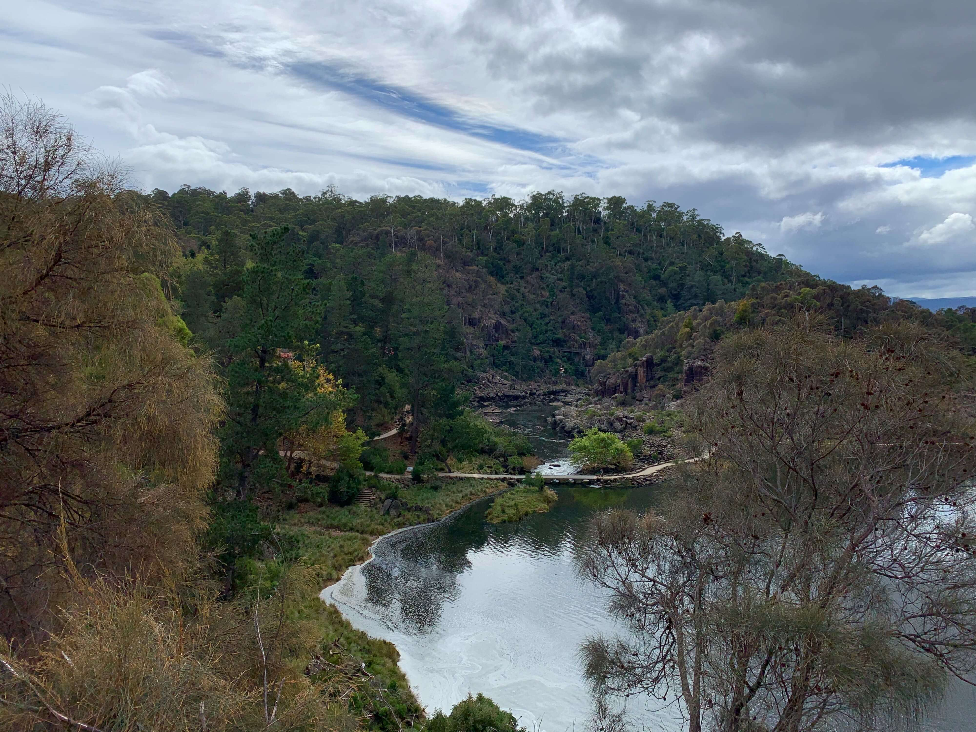 view of the South Esk River as seen from a walking trail in Cataract Gorge, Launceston, Tasmania
