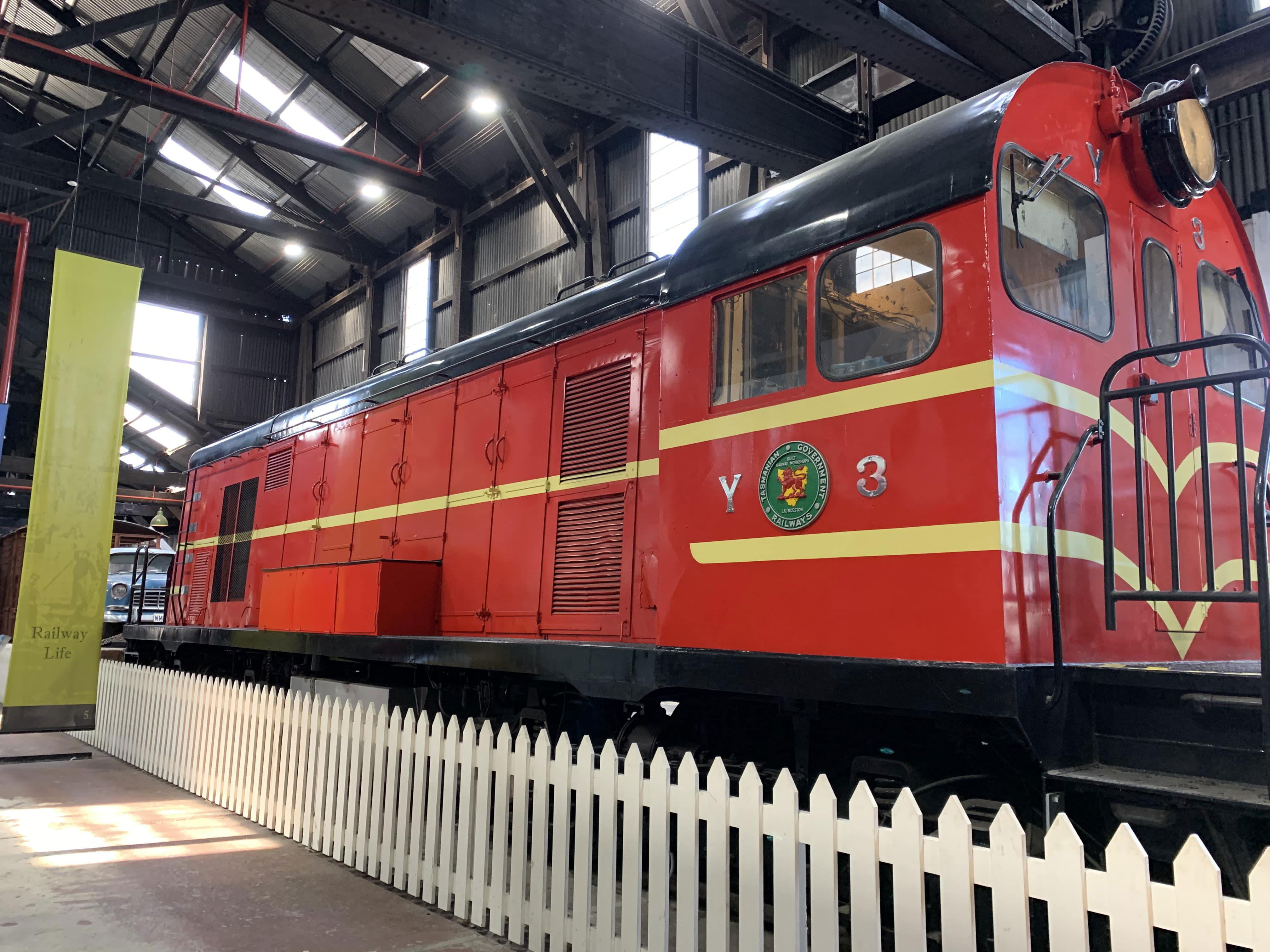 Vintage train in the railway workshop, QVM, Launceston