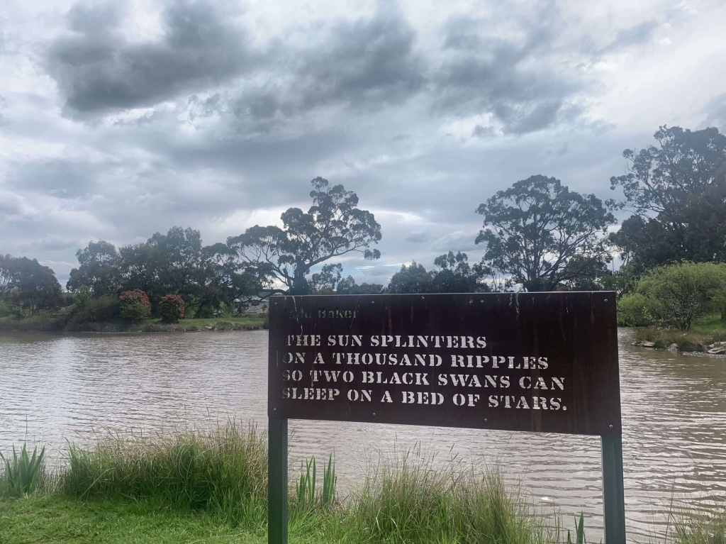 Photo of the Jerrabomberra lake with a metal plaque in front of it. The plaque has a poem about sunset and black swans.