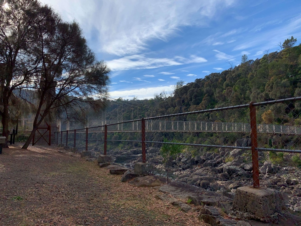 Photo of a bridge within the Cataract Gorge connecting to the Duck Reach power station, Launceston, Tasmania.